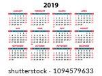 calendar 2019 vector basic grid....   Shutterstock .eps vector #1094579633