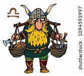 libra. funny viking zodiac sign ... | Shutterstock .eps vector #1094593997