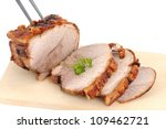 Typical Bavarian roast pork in a studio shot - stock photo