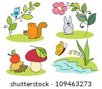 little inhabitants of the forest | Shutterstock .eps vector #109463273