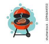 bbq. a juicy steak roasting on...   Shutterstock .eps vector #1094644553