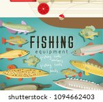 fishing equipment poster with... | Shutterstock .eps vector #1094662403