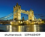 Bridge at night, London, UK - stock photo