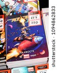Small photo of SAINT PETERSBURG, RUSSIA - MAY 20, 2018: Russian version of the comic book Racoon Rocket, Marvel company
