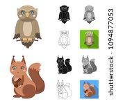 toy animals cartoon black flat... | Shutterstock .eps vector #1094877053