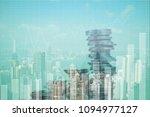 double exposure stack of coin... | Shutterstock . vector #1094977127