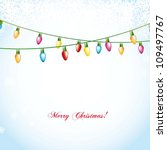 christmas balls over blue... | Shutterstock .eps vector #109497767