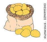potato in a canvas bag. hand... | Shutterstock .eps vector #1094995343