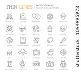 collection of movie genres thin ... | Shutterstock .eps vector #1094995973