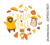 autumn card template with... | Shutterstock .eps vector #1095017837
