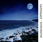 Full Moon And Wild Sea In The...