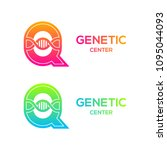 letter q colorful with dna... | Shutterstock .eps vector #1095044093