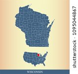 wisconsin county map with names.... | Shutterstock .eps vector #1095044867