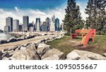 brooklyn bridge park  new york. ... | Shutterstock . vector #1095055667