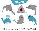 sea ocean animal fauna icon set.... | Shutterstock . vector #1095066923