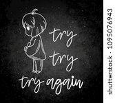 try again. cute cartoon kids....   Shutterstock .eps vector #1095076943