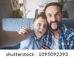 portrait of happy boy and... | Shutterstock . vector #1095092393
