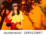 summer sale shopping girl with... | Shutterstock . vector #1095113897