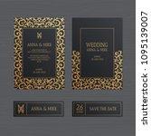 luxury wedding invitation or...   Shutterstock .eps vector #1095139007