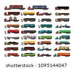vehicles set cargo truck van | Shutterstock .eps vector #1095144047