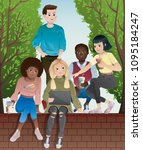 diverse group of teenagers... | Shutterstock .eps vector #1095184247