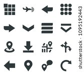 black vector icon set plane...