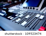 controls of audio mixing console - stock photo