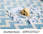 miniature house model with ... | Shutterstock . vector #1095237617