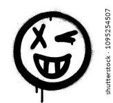 graffiti grin and wink icon... | Shutterstock .eps vector #1095254507
