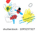 contemporary art background.  ... | Shutterstock .eps vector #1095257327