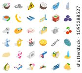 Crescent Icons Set. Isometric...