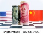 america dollar and yuan... | Shutterstock . vector #1095318923