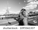 girl traveler with blond hair... | Shutterstock . vector #1095361337