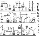 chemistry seamless pattern with ... | Shutterstock .eps vector #1095377537
