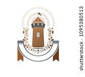 ancient fortress emblem.... | Shutterstock .eps vector #1095380513