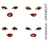 set of vector beautiful female...   Shutterstock .eps vector #1095382157
