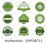 Bio and ecological labels set with embellishments in retro style, such a logo. Jpeg version also available in gallery - stock vector