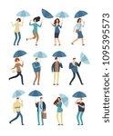 cartoon people with umbrella in ...   Shutterstock .eps vector #1095395573