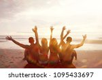 group of friends  youth sitting ... | Shutterstock . vector #1095433697