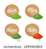 basil and mint spices set... | Shutterstock .eps vector #1095465803