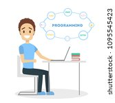 male programmer with laptop on... | Shutterstock .eps vector #1095545423