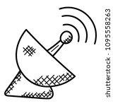 satellite dish antenna to... | Shutterstock .eps vector #1095558263