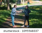 two girls sisters or ... | Shutterstock . vector #1095568337