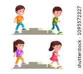 smiling boys and girls walking... | Shutterstock .eps vector #1095572327