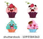 set of cute emotional cupcakes | Shutterstock .eps vector #1095584363