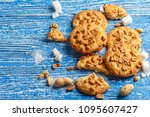 tasty cookies with peanuts on a ... | Shutterstock . vector #1095607427