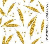 wheat ears seamless hand drawn... | Shutterstock .eps vector #1095613727