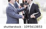 project manager shaking hands... | Shutterstock . vector #1095613853