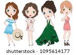 set of hand drawn beautiful... | Shutterstock .eps vector #1095614177