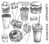 fast food illustrations... | Shutterstock .eps vector #1095640877